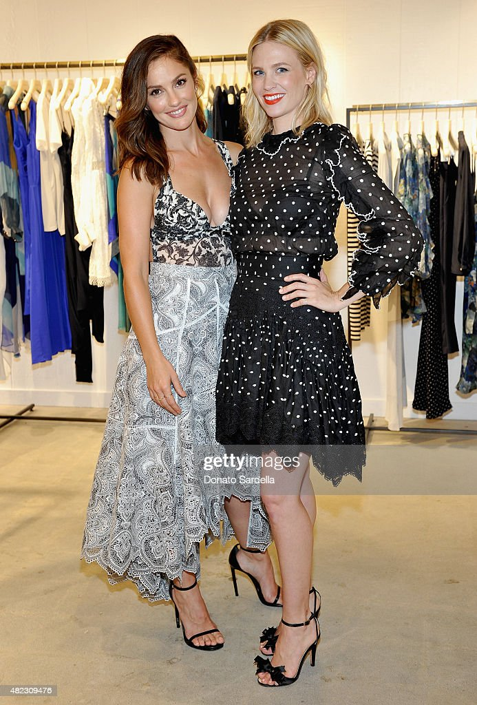 Actresses Minka Kelly and January Jones attend the opening of the ZIMMERMANN Melrose Place Flagship Store hosted by Nicky and Simone Zimmermann on...