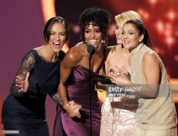 Actresses Minka Kelly Annie Ilonzeh Rachael Taylor and Drew Barrymore speak onstage during the 63rd Annual Primetime Emmy Awards held at Nokia...