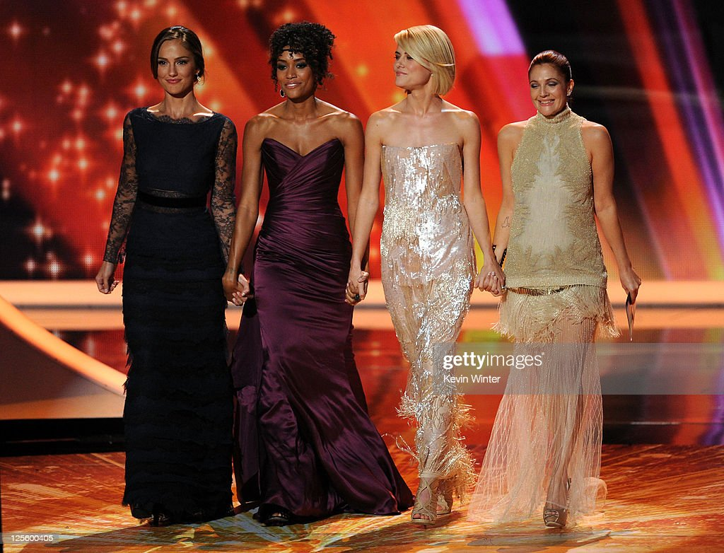 Actresses Minka Kelly, Annie Ilonzeh, Rachael Taylor, and Drew Barrymore speak onstage during the 63rd Annual Primetime Emmy Awards held at Nokia Theatre L.A. LIVE on September 18, 2011 in Los Angeles, California.
