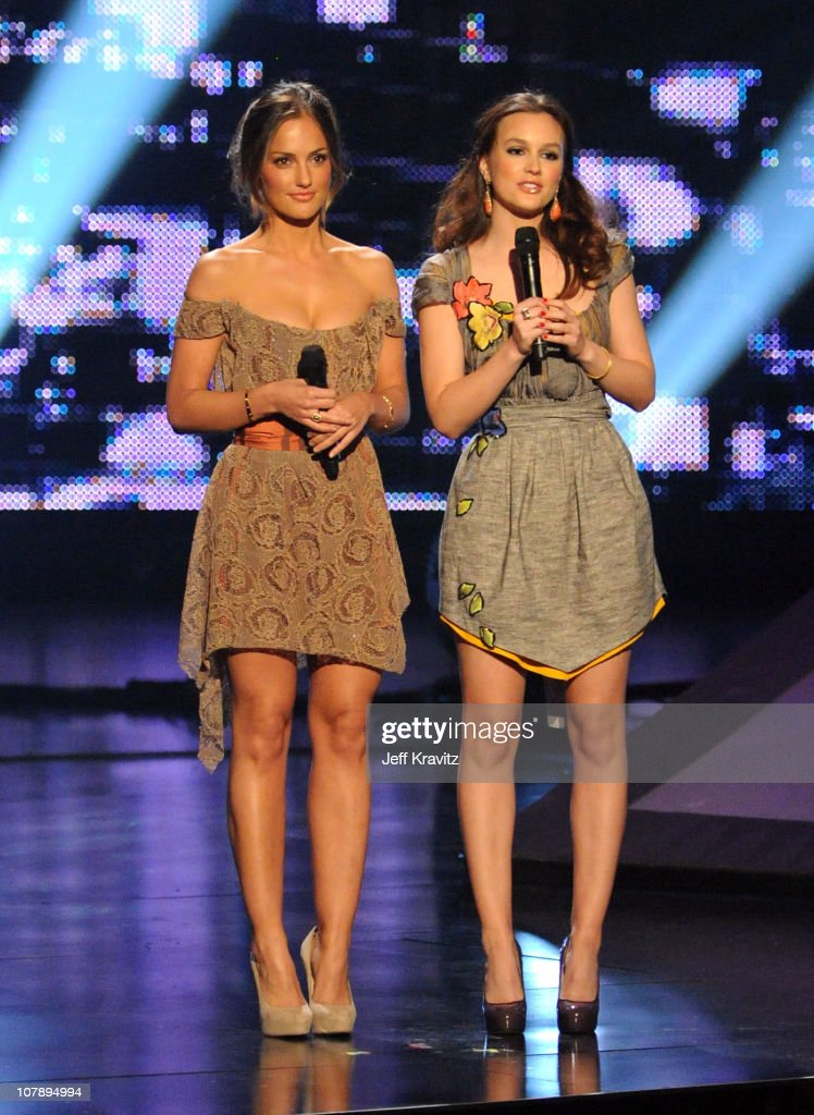Actresses <a gi-track='captionPersonalityLinkClicked' href=/galleries/search?phrase=Minka+Kelly&family=editorial&specificpeople=632847 ng-click='$event.stopPropagation()'>Minka Kelly</a> (L) <a gi-track='captionPersonalityLinkClicked' href=/galleries/search?phrase=Leighton+Meester&family=editorial&specificpeople=3947554 ng-click='$event.stopPropagation()'>Leighton Meester</a> speak onstage during 2011 People's Choice Awards at Nokia Theatre L.A. Live on January 5, 2011 in Los Angeles, California.