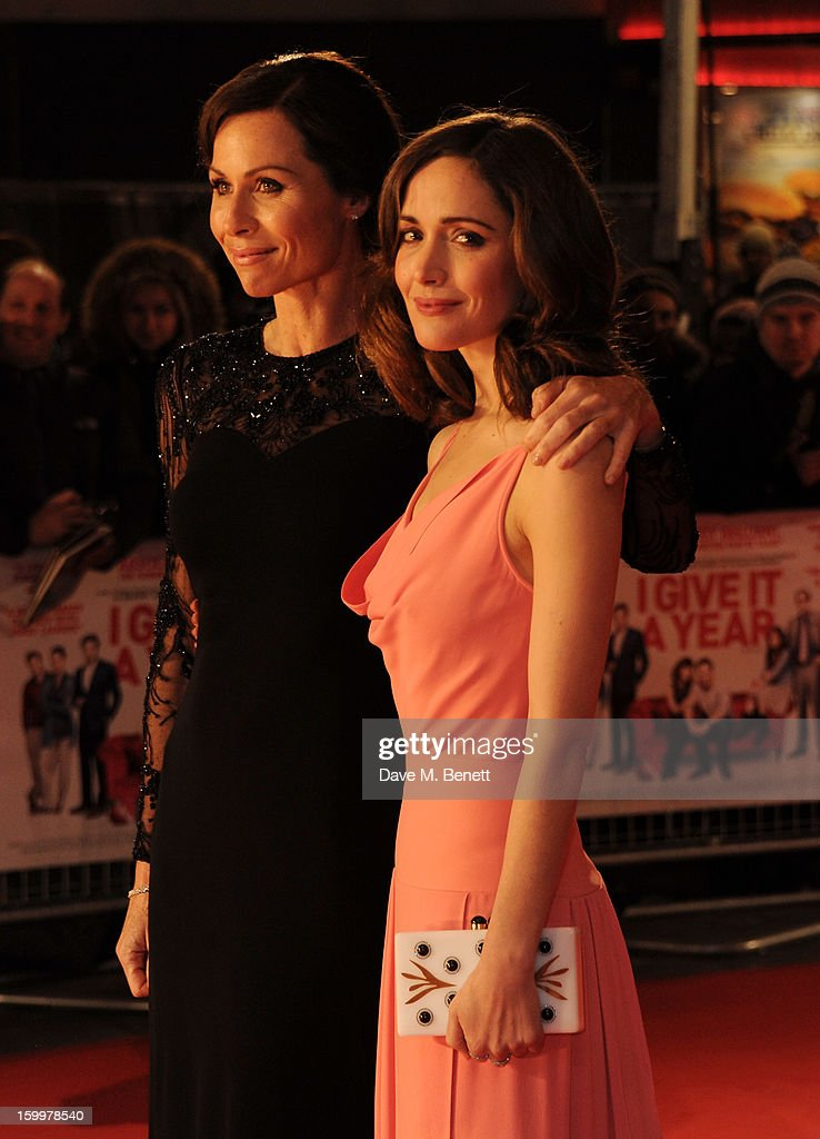 Actresses <a gi-track='captionPersonalityLinkClicked' href=/galleries/search?phrase=Minnie+Driver&family=editorial&specificpeople=201884 ng-click='$event.stopPropagation()'>Minnie Driver</a> and <a gi-track='captionPersonalityLinkClicked' href=/galleries/search?phrase=Rose+Byrne&family=editorial&specificpeople=206670 ng-click='$event.stopPropagation()'>Rose Byrne</a> attend the European Premiere of 'I Give It A Year' at Vue West End on January 24, 2013 in London, England.