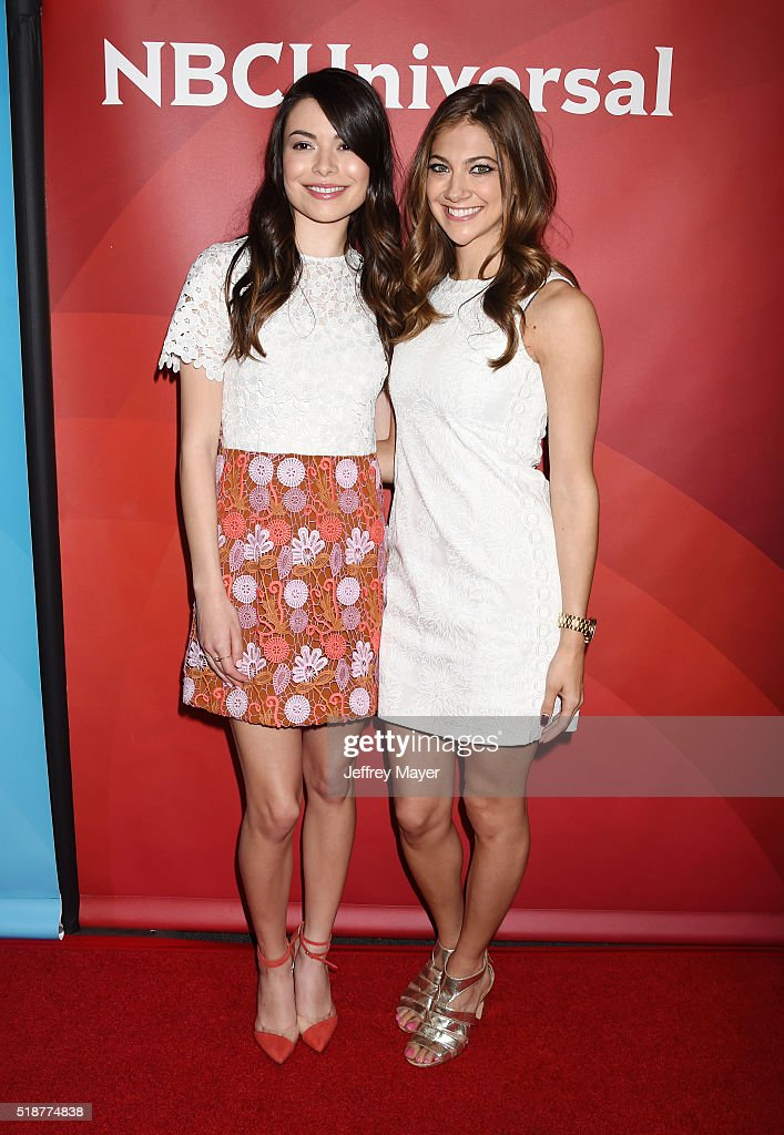 Actresses Miranda Cosgrove (L) and Mia Serafino arriveat the 2016 Summer TCA Tour - NBCUniversal Press Tour at the Four Seasons Hotel - Westlake Village on April 1, 2016 in Westlake Village, California.
