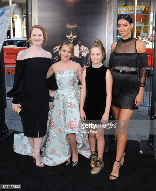 Actresses Miranda Otto Talitha Bateman Lulu Wilson Stephanie Sigman attend the premiere of New Line Cinema's' 'Annabelle Creation' at TCL Chinese...