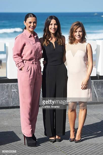 Actresses Miren Ibarguren Barbara Goenaga and Marta Etura attend the 'Kalebegiak' photocall during 64th San Sebastian International Film Festival at...