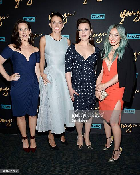 Actresses Miriam Shor Sutton Foster Debi Mazar and Hilary Duff attend the Premiere Of TV Land's 'Younger' at Landmark Sunshine Cinema on March 31...