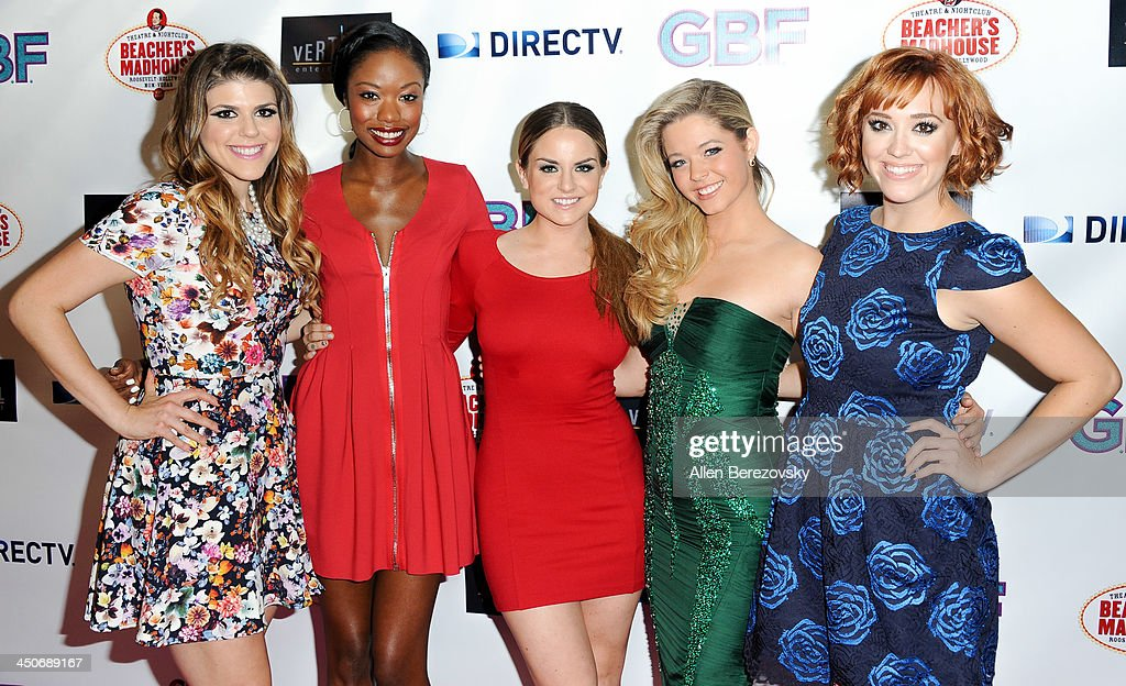 Actresses Molly Tarlov, Xosha Roquemore, singer JoJo, actress Sasha Pieterse and actress Andrea Bowen arrive at the Los Angeles premiere of 'G.B.F.' at Chinese 6 Theater in Hollywood on November 19, 2013 in Hollywood, California.