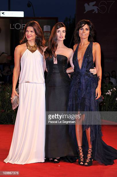 Actresses Monica Barladeanu Paz Vega and Valeria Solarino attend the 'Vallanzasca' premiere during the 67th Venice Film Festival at the Sala Grande...
