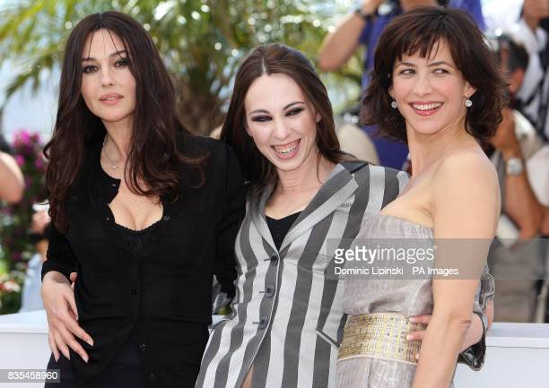 Actresses Monica Bellucci Marina De Van and Sophie Marceau attend a photocall for their film 'Don't Look Back' at the Palais des Festivals in Cannes...