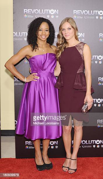 Actresses Monique Coleman and Tracy Spiridakos attend the 'Revolution The Power of Entertainment' season two premiere at United Nations Headquarters...