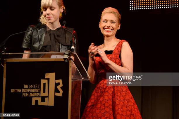 Actresses MyAnna Buring and Antonia CampbellHughes present the award for Best Supporting Actress during the ceremony for the Moet British Independent...