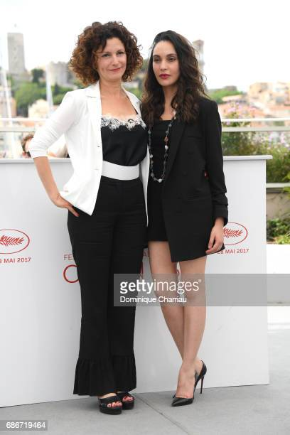 Actresses Nadia Kaci and Hania Amar attend 'Waiting For Swallows ' photocall during the 70th annual Cannes Film Festival at Palais des Festivals on...