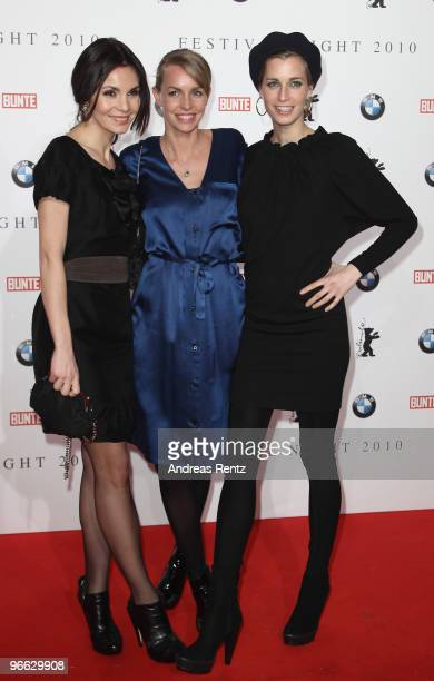 Actresses Nadine Warmuth Simone Hanselmann and Tina Bordihn arrive to the Festival Night 2010 at the Palais Am Festungsgraben on February 12 2010 in...