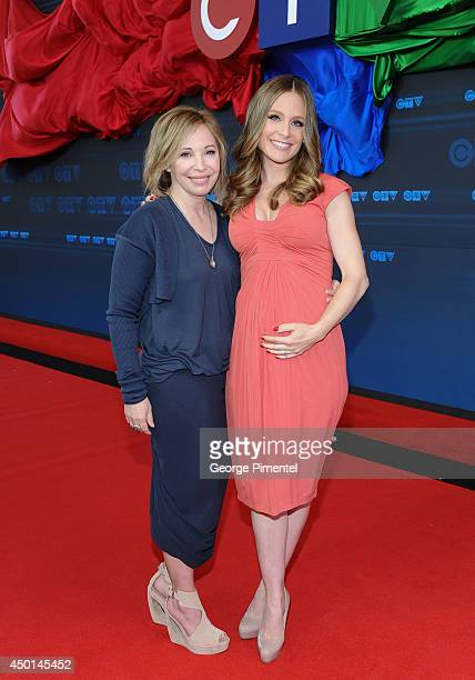 Actresses Nancy Robertson and Tara SpencerNairn of Corner Gas attend the CTV 2014 Upfront at Sony Centre for the Performing Arts on June 5 2014 in...