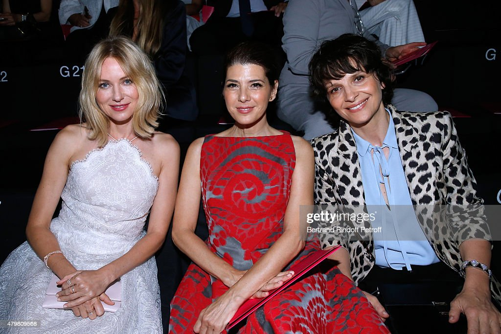 Actresses Naomi Watts, Marisa Tomei and Juliette Binoche attend the Giorgio Armani Prive show as part of Paris Fashion Week Haute-Couture Fall/Winter 2015/2016. Held at Palais de Chaillot on July 7, 2015 in Paris, France.
