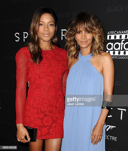 Actresses Naomie Harris and Halle Berry attend 'Spectre' The Black Women of Bond Tribute at California African American Museum on November 3 2015 in...