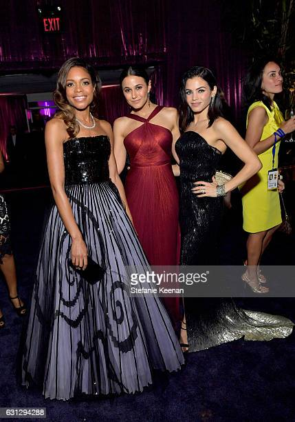 Actresses Naomie Harris Emmanuelle Chriqui and Jenna Dewan Tatum attend The 2017 InStyle and Warner Bros 73rd Annual Golden Globe Awards PostParty at...