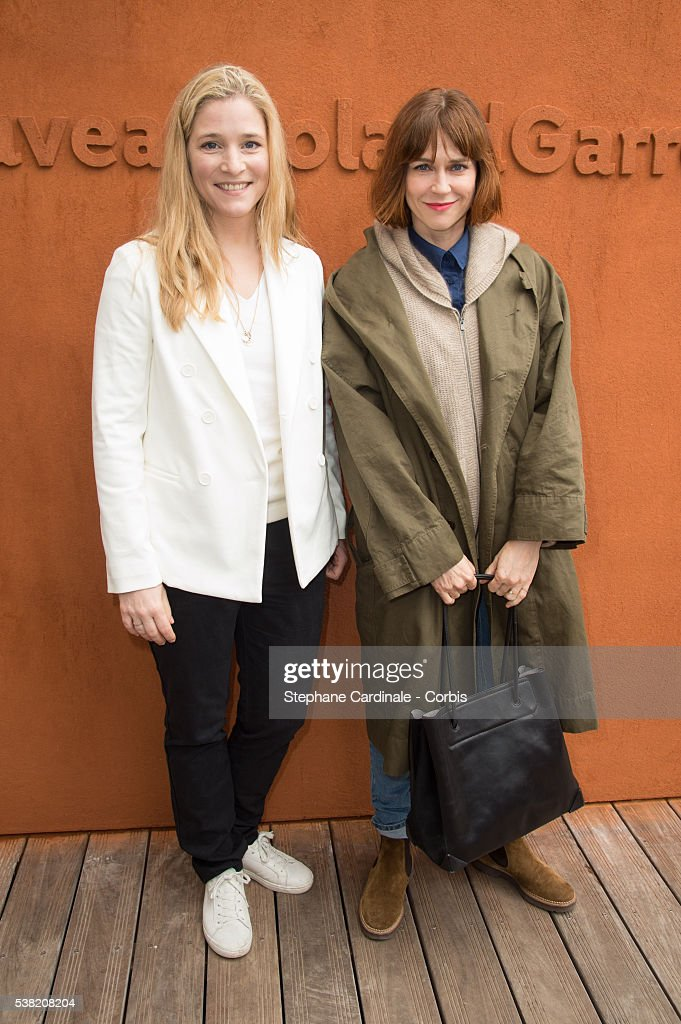 Actresses Natacha Regnier and MarieJosee Croze attends day Fourteen of the 2016 French Open at Roland Garros on June 4 2016 in Paris France