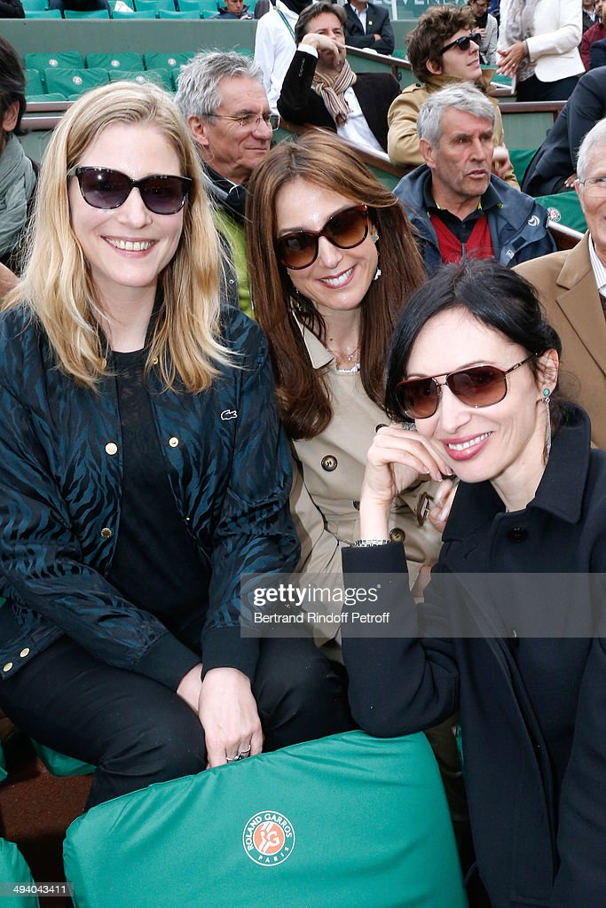 Actresses Natacha Regnier, Elsa Zylberstein and Geraldine Maillet attend the Roland Garros French Tennis Open 2014 - Day 3 on May 27, 2014 in Paris, France.