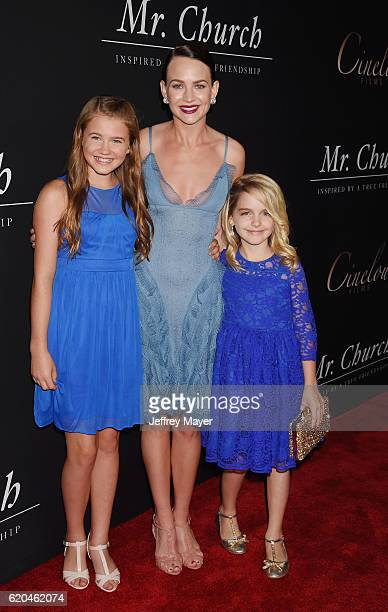Actresses Natalie Coughlin Britt Robertson and McKenna Grace arrive at the premiere of Cinelou Releasing's 'Mr Church' at ArcLight Hollywood on...