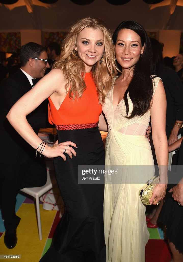 Actresses Natalie Dormer and Lucy Liu attend HBO's Official 2014 Emmy After Party at The Plaza at the Pacific Design Center on August 25 2014 in Los...