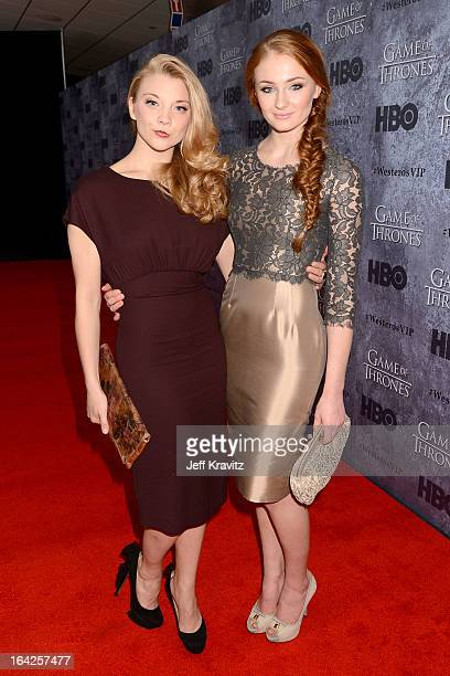 Actresses Natalie Dormer and Sophie Turner attend HBO's 'Game Of Thrones' Season 3 Seattle Premiere on March 21 2013 in Seattle Washington