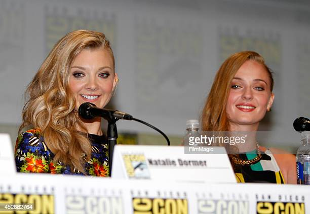 Actresses Natalie Dormer and Sophie Turner attend HBO's 'Game of Thrones' Panel during ComicCon 2014 on July 25 2014 in San Diego California