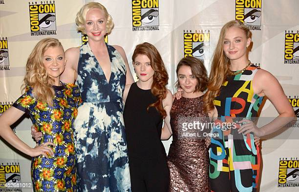 Actresses Natalie Dormer Gwendoline Christie Rose Leslie Maisie Williams and Sophie Turner attend HBO's 'Game Of Thrones' panel and QA during...