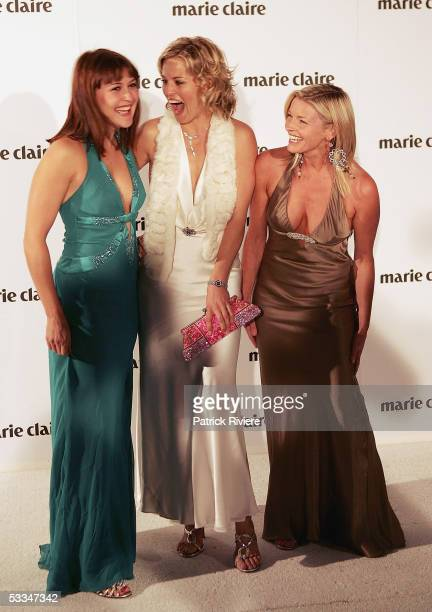 Actresses Natalie Saleeba Alexandra Davies and Tammy Macintosh attend the 10th Birthday Party of Marie Claire Magazine at the Technology Park on...