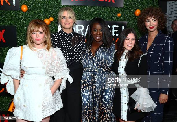 Actresses Natasha Lyonne Taylor Schilling Uzo Aduba Yael Stone and Jackie Cruz attend 'Orange Is The New Black' season 5 celebration at Catch on June...