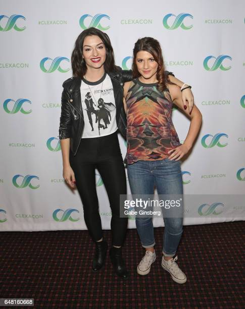 Actresses Natasha Negovanlis and Elise Bauman attend ClexaCon 2017 convention at Bally's Las Vegas on March 4 2017 in Las Vegas Nevada