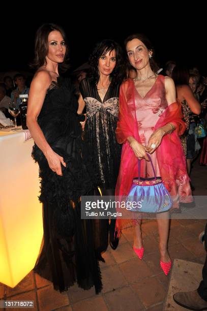 Actresses Nathalie Caldonazzo Anne Parillaud and Giselda Volodi attends a party at The Lancia Cafe on June 16 2010 in Taormina Italy