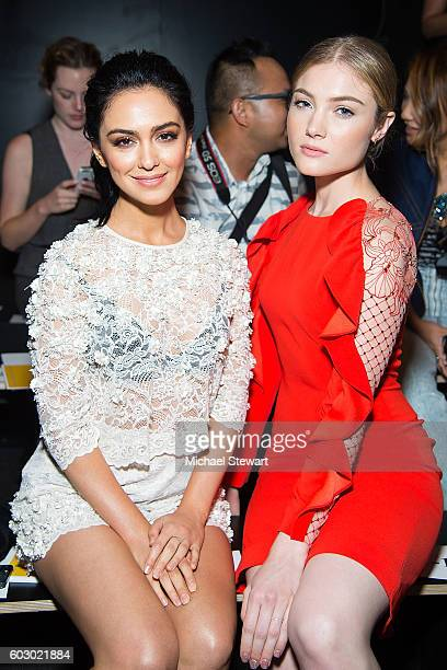 Actresses Nazanin Boniadi and Skyler Samuels attend the Jenny Packham fashion show during September 2016 New York Fashion Week The Shows at The Dock...