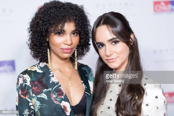 Actresses Nesta Cooper and Alicia Sanz arrive for the Childhelp Hosts An Evening Celebrating Hollywood Heroes at Riviera 31 on October 18 2017 in...