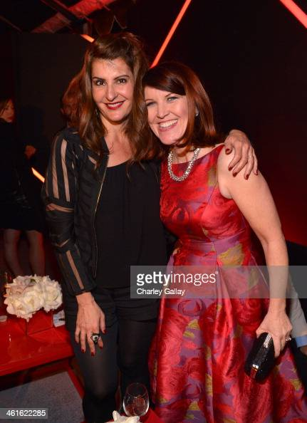 Actresses Nia Vardalos and Kate Flannery attend Golden Globes Weekend Audi Celebration at Cecconi's on January 9 2014 in Beverly Hills California