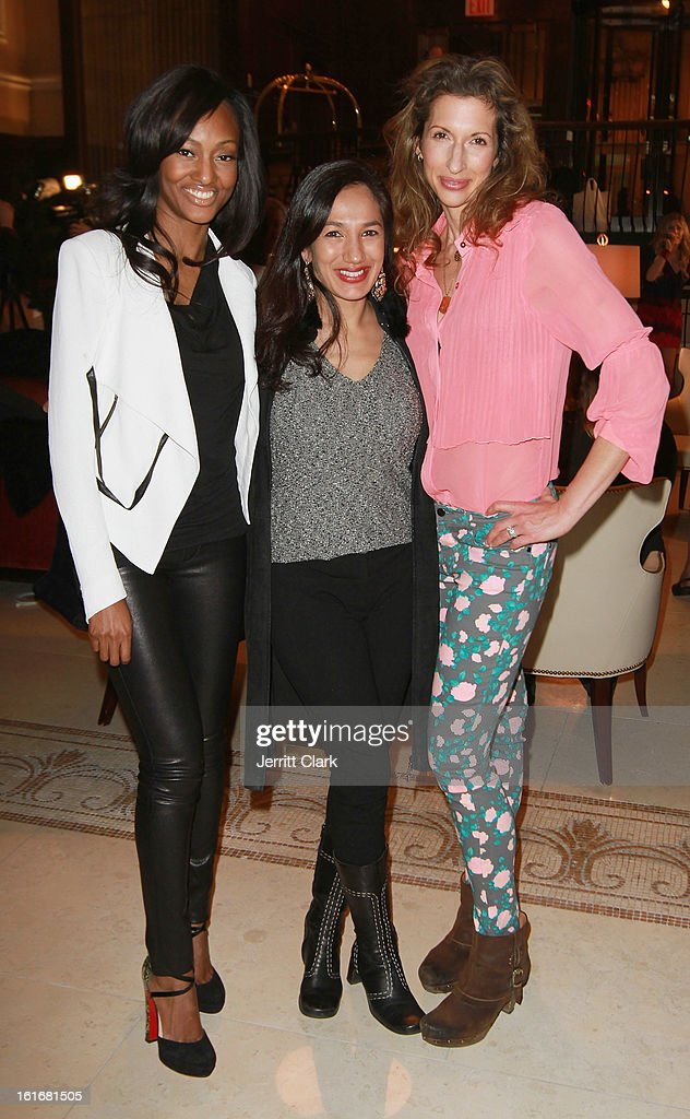 Actresses Nichole Galicia, Purva Bedi and <a gi-track='captionPersonalityLinkClicked' href=/galleries/search?phrase=Alysia+Reiner&family=editorial&specificpeople=655685 ng-click='$event.stopPropagation()'>Alysia Reiner</a> attend the Caravan Stylist Studio New York Presentation at the Carlton Hotel on February 12, 2013 in New York City.