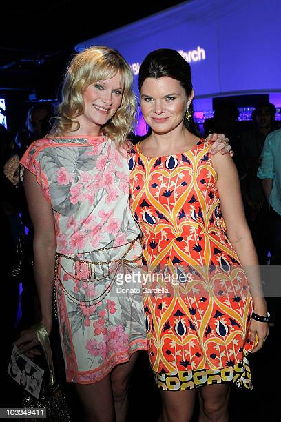 Actresses Nicholle Tom and Heather Tom attend the BlackBerry Torch from ATT US Launch Party on August 11 2010 in Los Angeles California