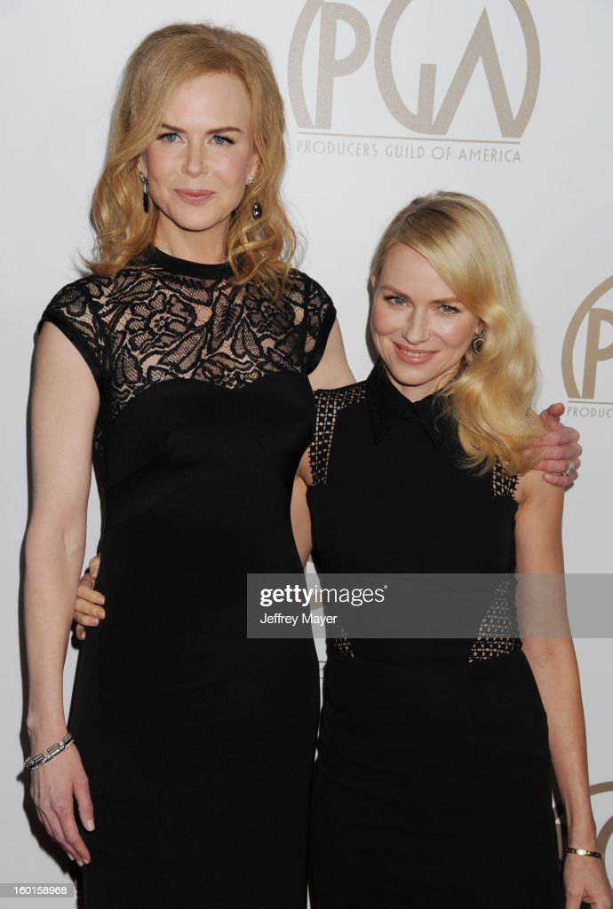 Actresses <a gi-track='captionPersonalityLinkClicked' href=/galleries/search?phrase=Nicole+Kidman&family=editorial&specificpeople=156404 ng-click='$event.stopPropagation()'>Nicole Kidman</a> and <a gi-track='captionPersonalityLinkClicked' href=/galleries/search?phrase=Naomi+Watts&family=editorial&specificpeople=171723 ng-click='$event.stopPropagation()'>Naomi Watts</a> arrive at the 24th Annual Producers Guild Awards at The Beverly Hilton Hotel on January 26, 2013 in Beverly Hills, California.