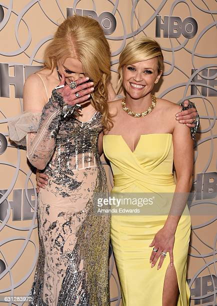 Actresses Nicole Kidman and Reese Witherspoon arrive at HBO's Official Golden Globe Awards After Party at Circa 55 Restaurant on January 8 2017 in...