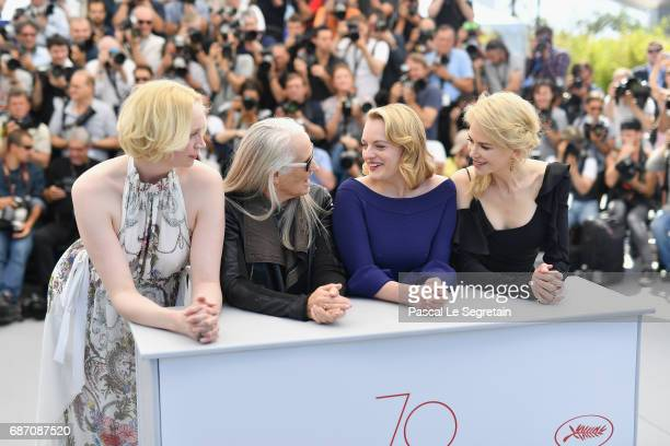 Actresses Nicole Kidman Elisabeth Moss director Jane Campion and actress Gwendoline Christie attend the 'Top Of The Lake China Girl' photocall during...