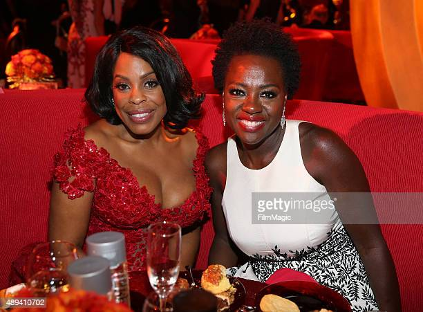 Actresses Niecy Nash and Viola Davis attend HBO's Official 2015 Emmy After Party at The Plaza at the Pacific Design Center on September 20 2015 in...