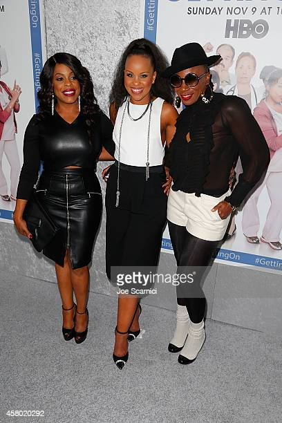 Actresses Niecy Nash Kellee Stewart and Aisha Hinds attend the HBO's 'Getting On' Los Angeles Premiere at Avalon on October 28 2014 in Hollywood...