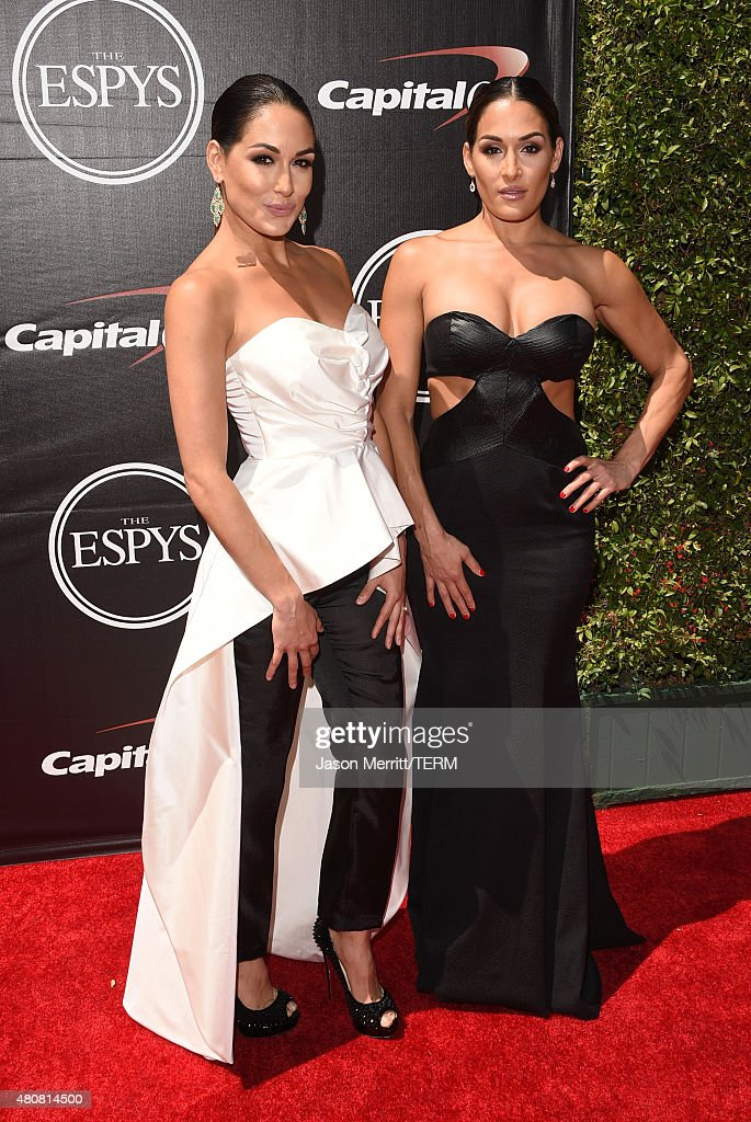 Actresses Nikki Bella and Brie Bella attend The 2015 ESPYS at Microsoft Theater on July 15 2015 in Los Angeles California