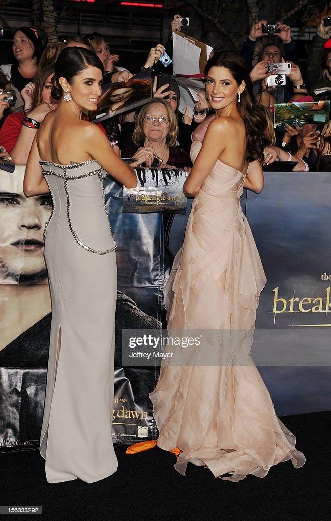 Actresses Nikki Reed and Ashley Greene arrive at 'The Twilight Saga: Breaking Dawn - Part 2' Los Angeles premiere at Nokia Theatre L.A. Live on November 12, 2012 in Los Angeles, California.