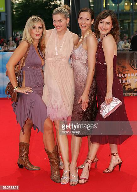 Actresses Nina Bott Ulrike Frank Maike von Bremen and Susan Sideropoulos from the German television series 'Gute Zeiten Schlechte Zeiten' arrive at...