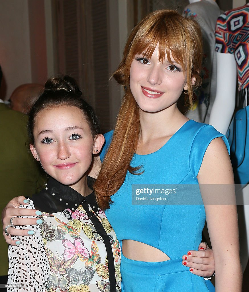 Actresses <a gi-track='captionPersonalityLinkClicked' href=/galleries/search?phrase=Noah+Cyrus&family=editorial&specificpeople=5363850 ng-click='$event.stopPropagation()'>Noah Cyrus</a> (L) and <a gi-track='captionPersonalityLinkClicked' href=/galleries/search?phrase=Bella+Thorne&family=editorial&specificpeople=5083663 ng-click='$event.stopPropagation()'>Bella Thorne</a> attend the Boohoo's Summer 2013 Press Day at SUR Lounge on March 26, 2013 in Los Angeles, California.