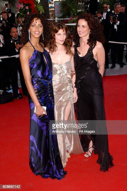 Actresses Noemie Lenoir Laetita Casta and Andie MacDowell arriving for the premiere of The Matrix Reloaded at the Palais des Festival in Cannes