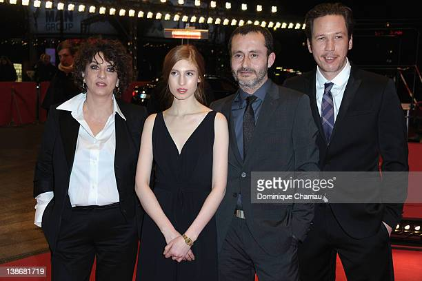 Actresses Noemie Lvovsky Agathe Bonitzer director Frederic Videau and actor Reda Kateb attend the 'A Moi Seule' Premiere during day two of the 62nd...