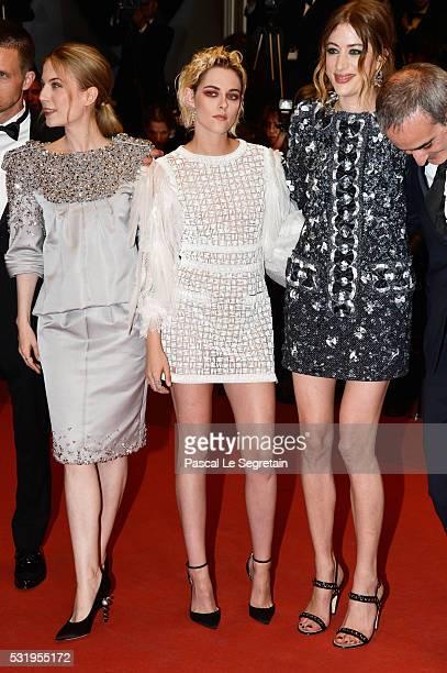 Actresses Nora von Waldstaetten Kristen Stewart and Sigrid Bouaziz attend the 'Personal Shopper' premiere during the 69th annual Cannes Film Festival...