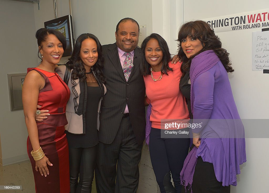 Actresses Noree Victoria, <a gi-track='captionPersonalityLinkClicked' href=/galleries/search?phrase=Essence+Atkins&family=editorial&specificpeople=225171 ng-click='$event.stopPropagation()'>Essence Atkins</a>, host <a gi-track='captionPersonalityLinkClicked' href=/galleries/search?phrase=Roland+Martin&family=editorial&specificpeople=5490103 ng-click='$event.stopPropagation()'>Roland Martin</a>, and actresses Robinne Lee and Jackée attend the taping of TV One's 'Washington Watch With <a gi-track='captionPersonalityLinkClicked' href=/galleries/search?phrase=Roland+Martin&family=editorial&specificpeople=5490103 ng-click='$event.stopPropagation()'>Roland Martin</a>' Hollywood Special at KCET Studios on January 31, 2013 in Hollywood, California.