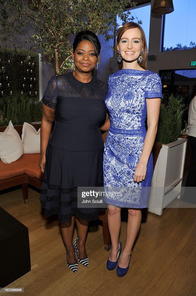 Actresses <a gi-track='captionPersonalityLinkClicked' href=/galleries/search?phrase=Octavia+Spencer&family=editorial&specificpeople=2538115 ng-click='$event.stopPropagation()'>Octavia Spencer</a> (L) and <a gi-track='captionPersonalityLinkClicked' href=/galleries/search?phrase=Ahna+O%27Reilly&family=editorial&specificpeople=696424 ng-click='$event.stopPropagation()'>Ahna O'Reilly</a> attend the Women In Film's 6th Annual Pre-Oscar Party hosted by Perrier Jouet, MAC Cosmetics and MaxMara at Fig & Olive on February 22, 2013 in Los Angeles, California.